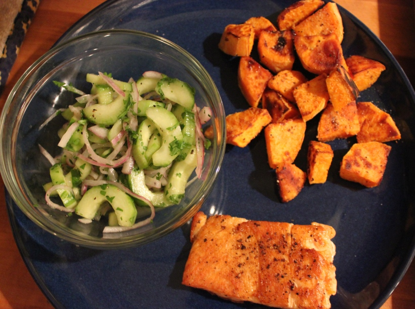 Cucumber salad with salmon and sweet potatoes