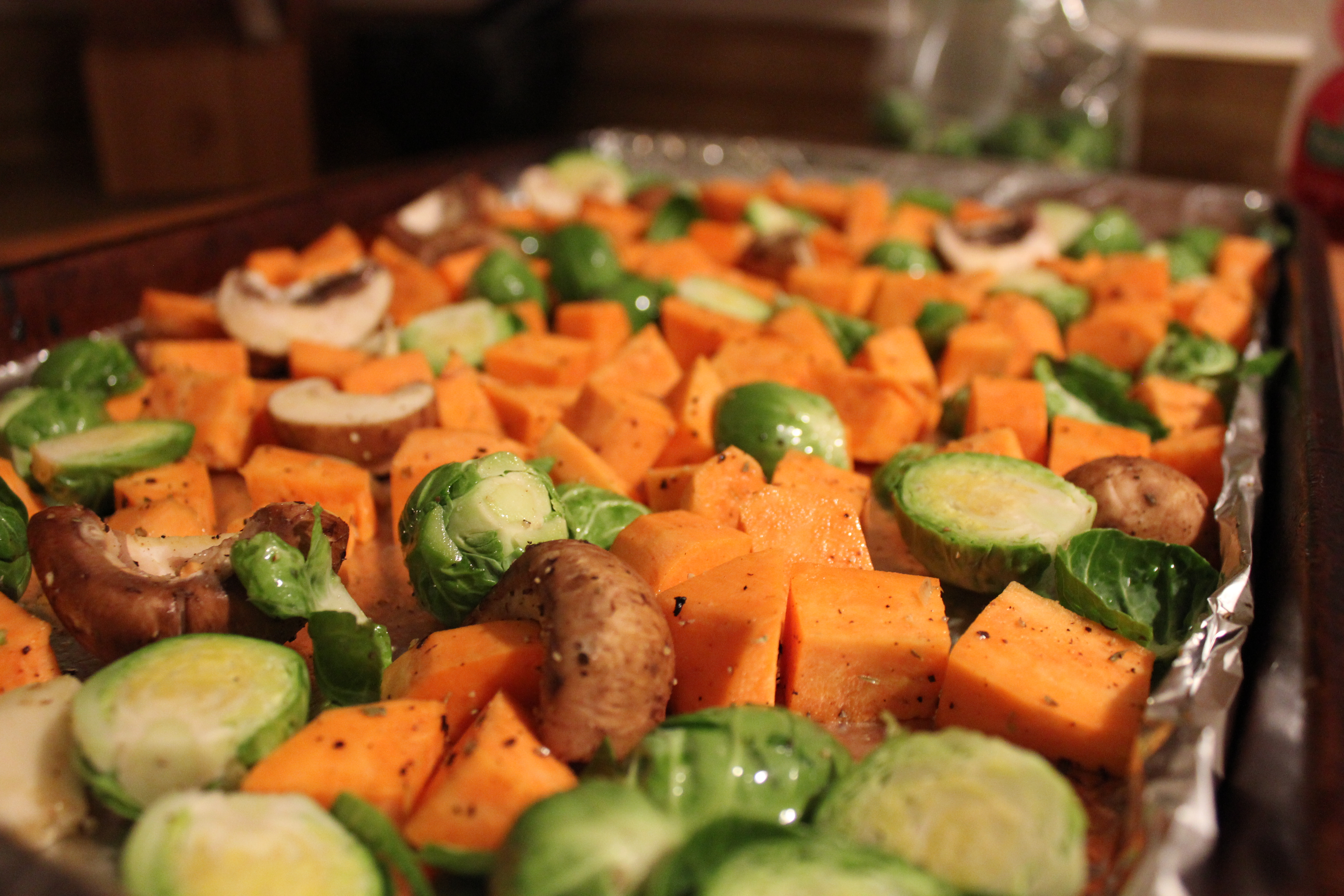 Up close veggies to be roasted