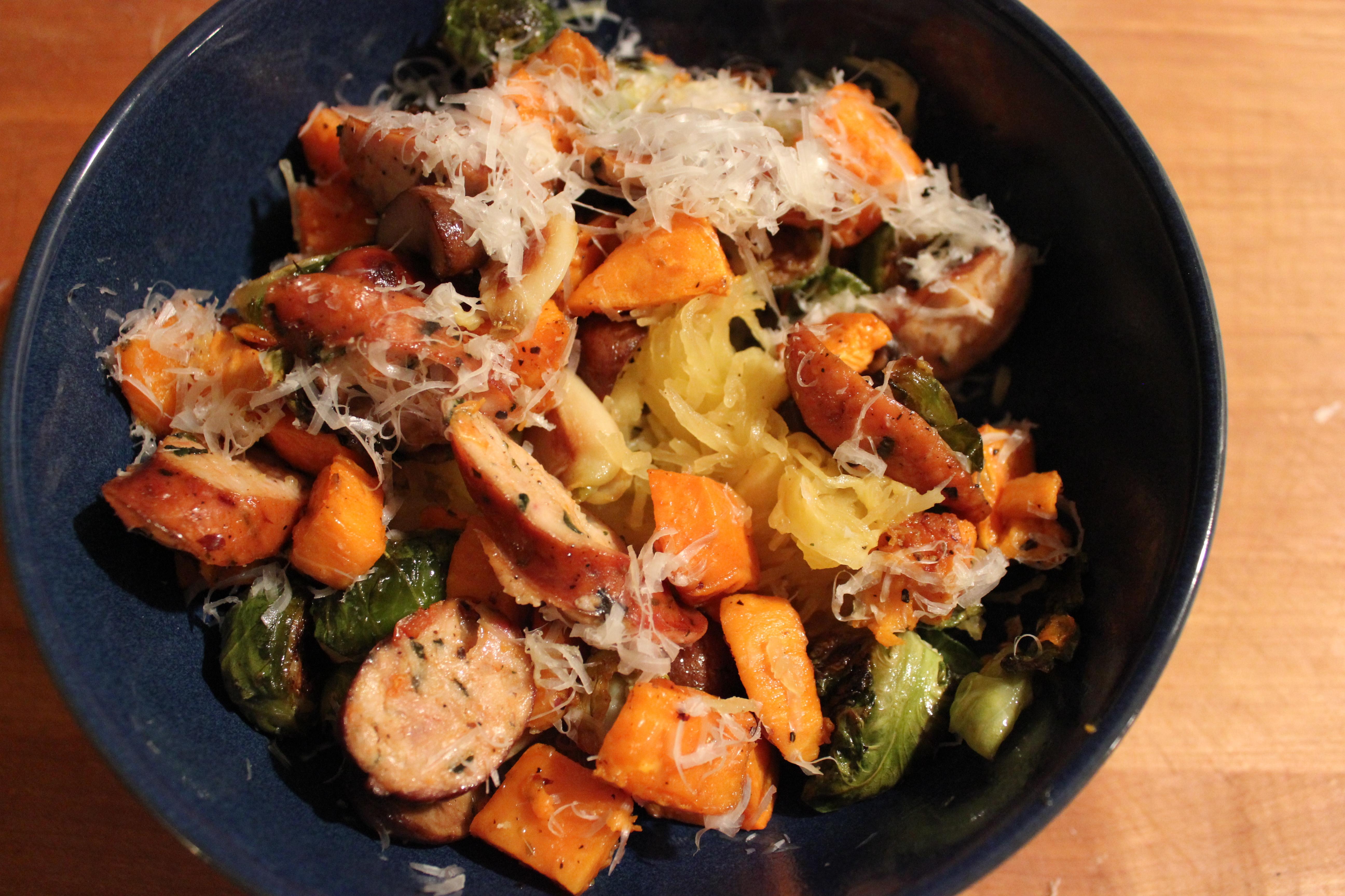 Roasted veggies and spaghetti squash