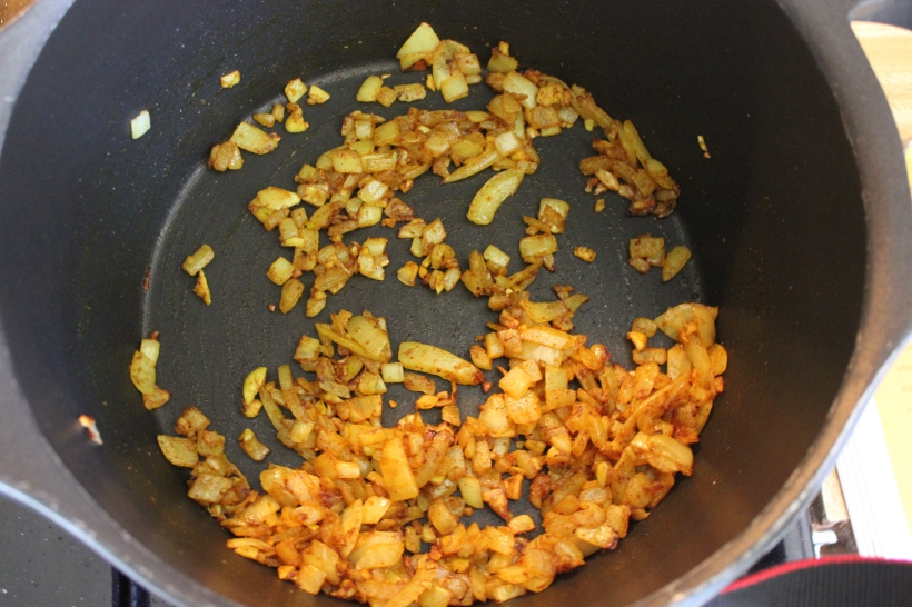 Onions and garlic w/ curry spices