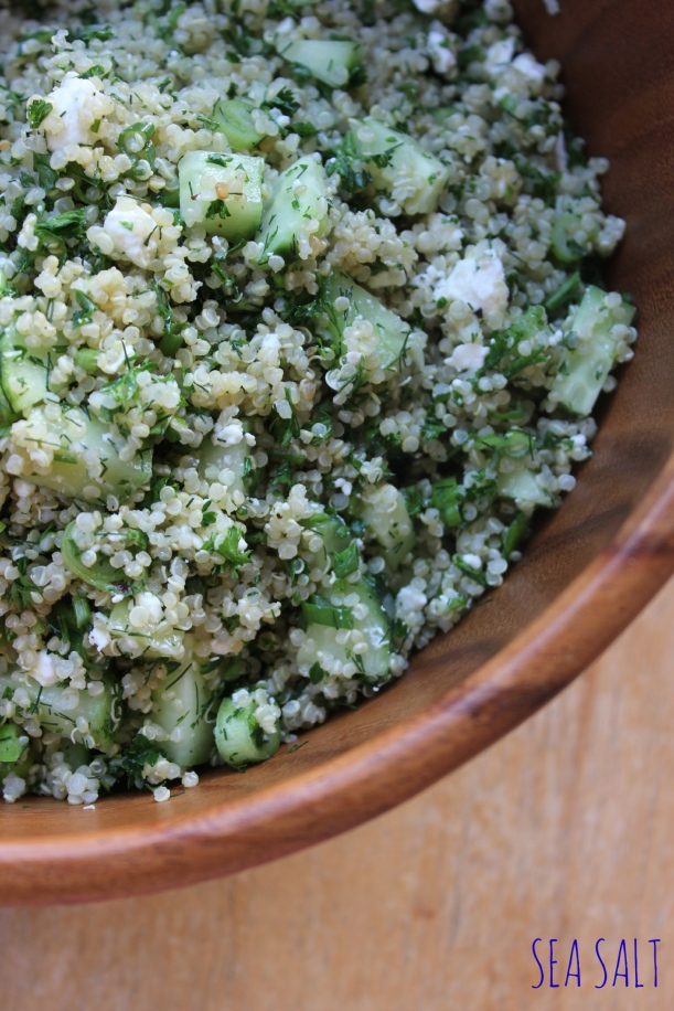 Lemony Quinoa with Dill, Cucumbers and Feta