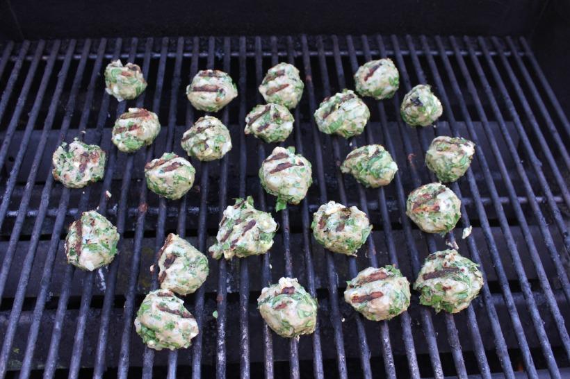 Grilled Greek Turkey Meatballs with Yogurt Sauce