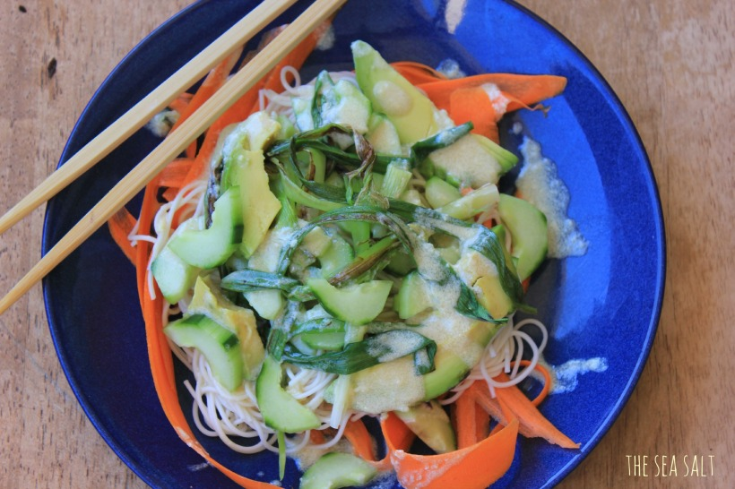 Noodle Salad with Grilled Green Onions and Miso Dressing
