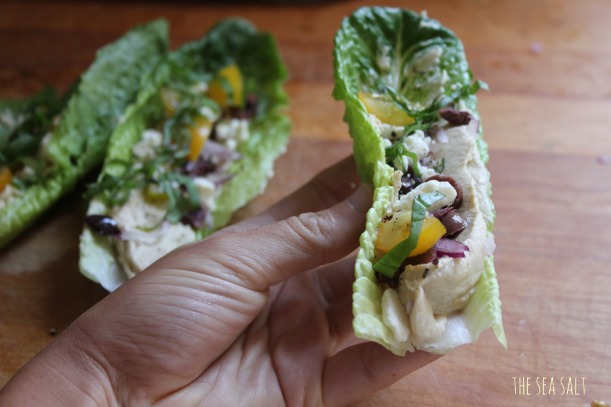 Lettuce Wraps with Hummus, Kalamatas, Feta and Basil
