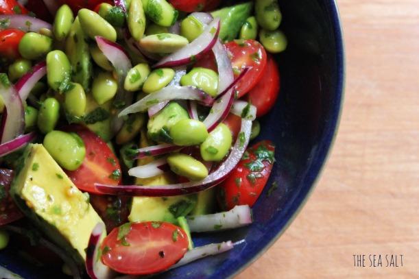 Edamame and Avocado Salad with Cilantro Lime Vinaigrette
