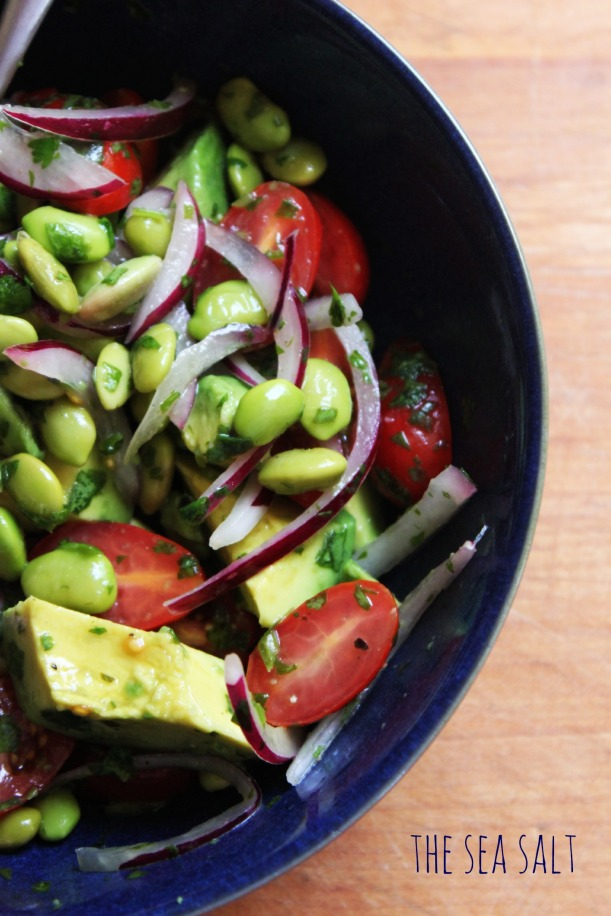 Edamame and Avocado Salad with Cilantro Lime Vinaigrette