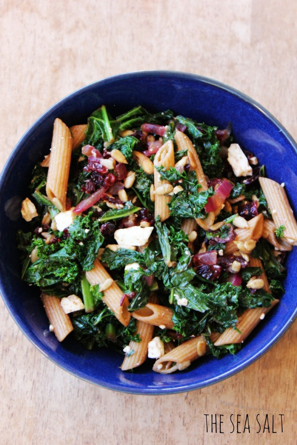 Kale and Cranberry Pasta Salad with Balsamic and Feta