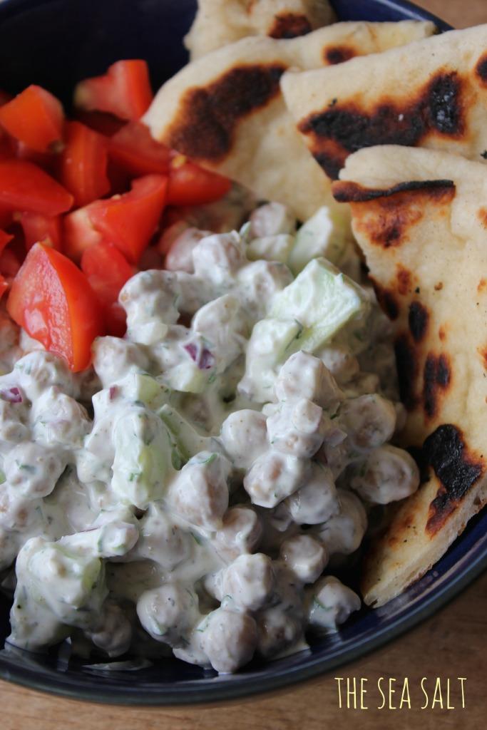 Roasted Chickpea Salad with Garlic & Dill Yogurt Sauce