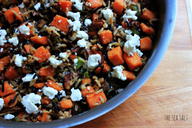 Autumn Wild Rice with Roasted Sweet Potatoes, Pecans and Goat Cheese