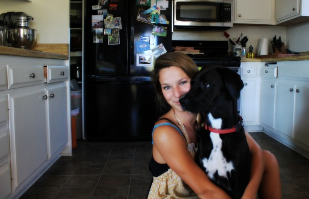 Hunter and me in my kitchen