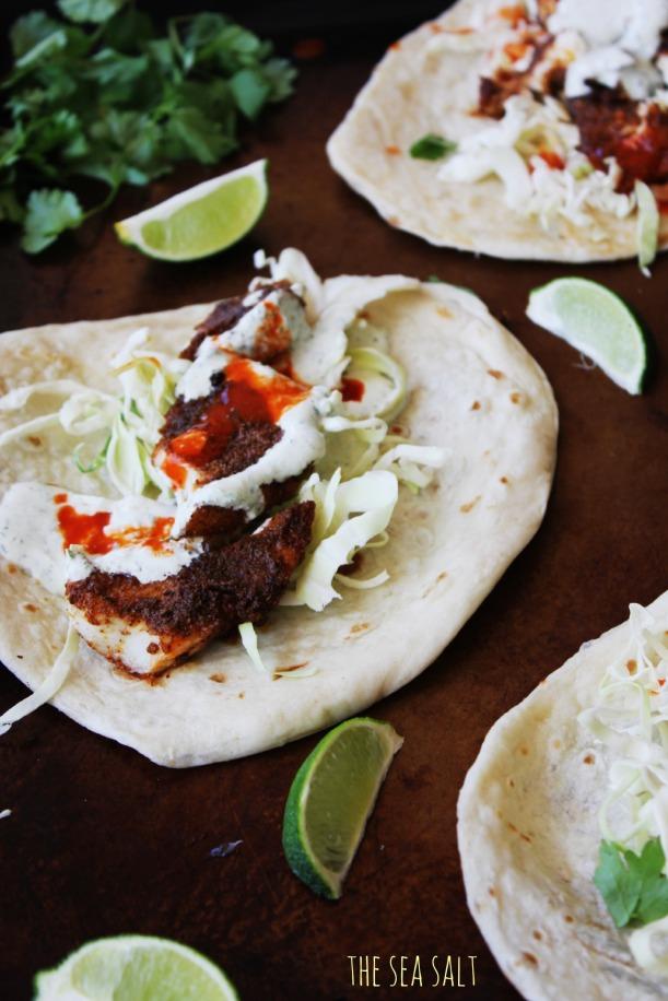 Blackened Fish Tacos with Cilantro Lime Cream