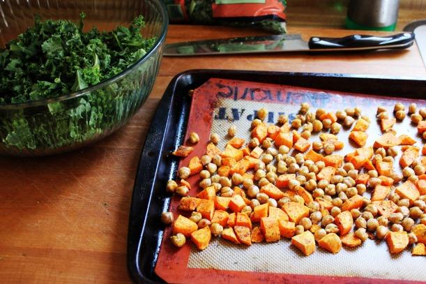 Roasted Sweet Potatoes & Chickpeas