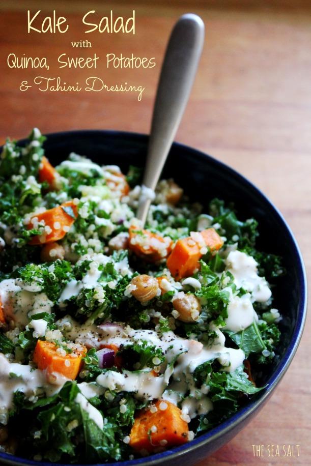 Kale Salad with Quinoa, Sweet Potatoes & Tahini Dressing