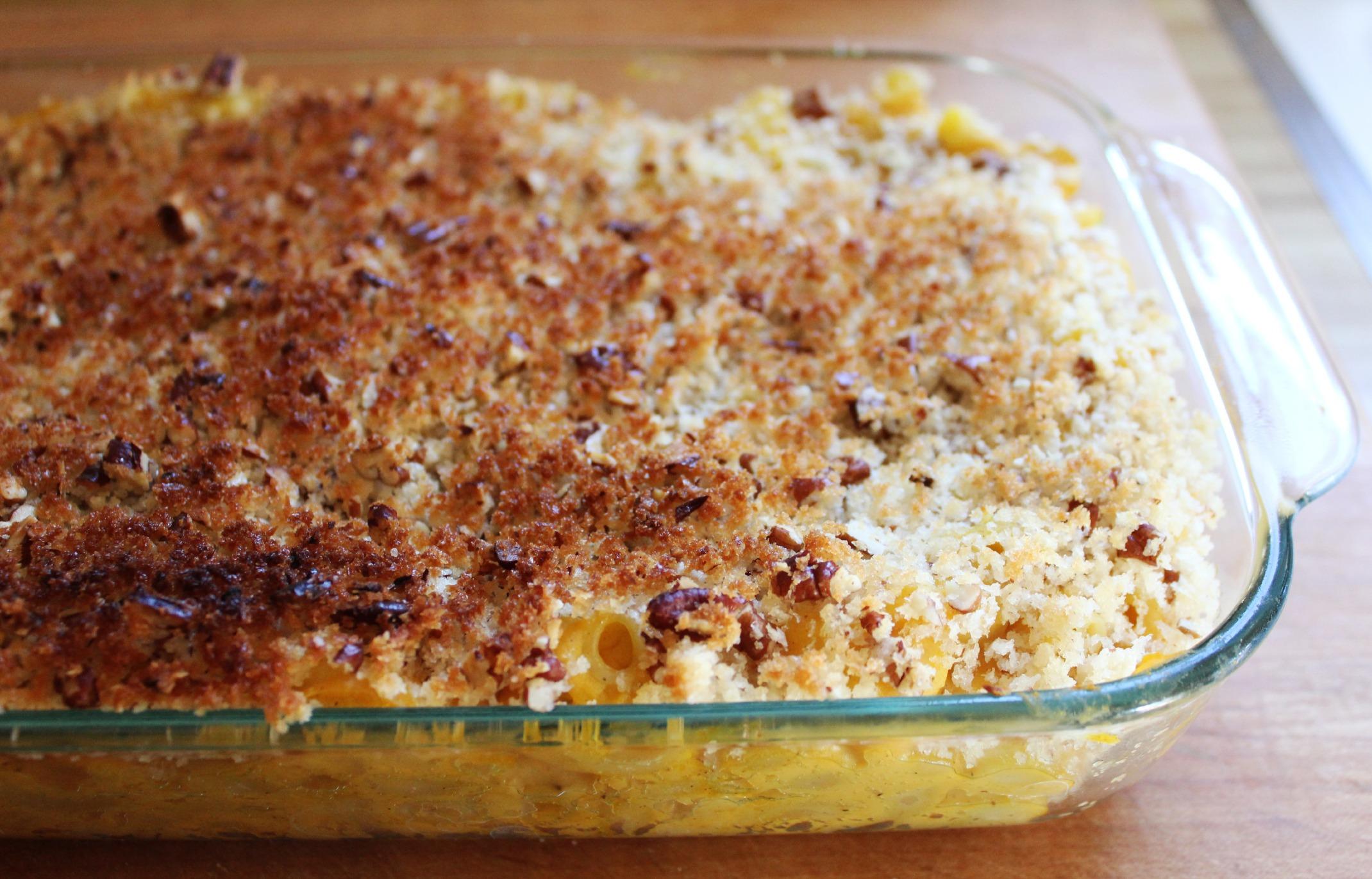Macaroni & Butternut Squash with Crispy Pecan Topping | The Sea Salt