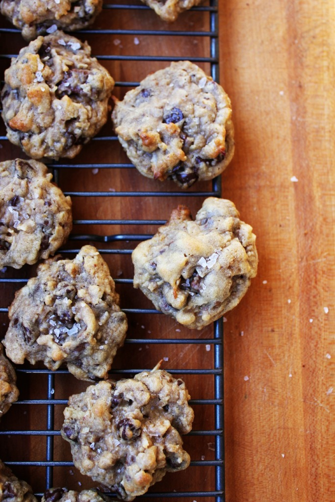 Salted Double Chocolate Chip Cookies with Coconut & Potato Chips